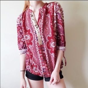 Anthropologie Tiny Devas Popover Sequin Top- Small
